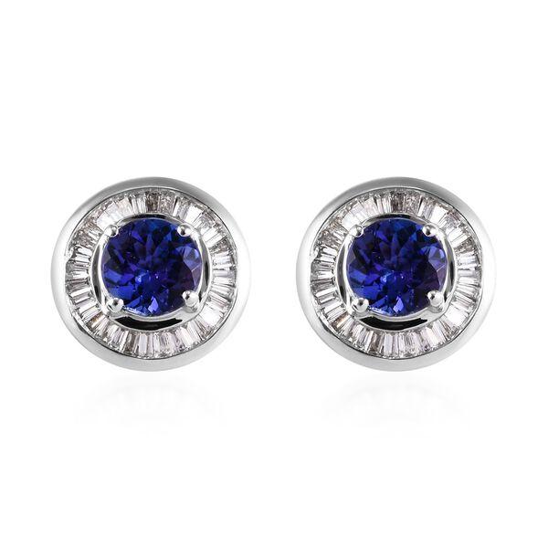 ILIANA 1.75 Ct AAA Tanzanite and Diamond Halo Stud Earrings in 18K White Gold 4.30 Grams