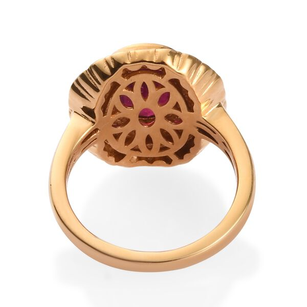 African Ruby Enamelled Ring in 14K Gold Overlay Sterling Silver 2.50 Ct, Silver wt 5.00 Gms