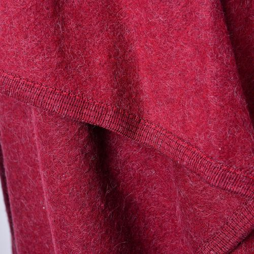 Designer Inspired-Super Soft Red Colour Waterfall Gilet (Size 150X140 Cm)
