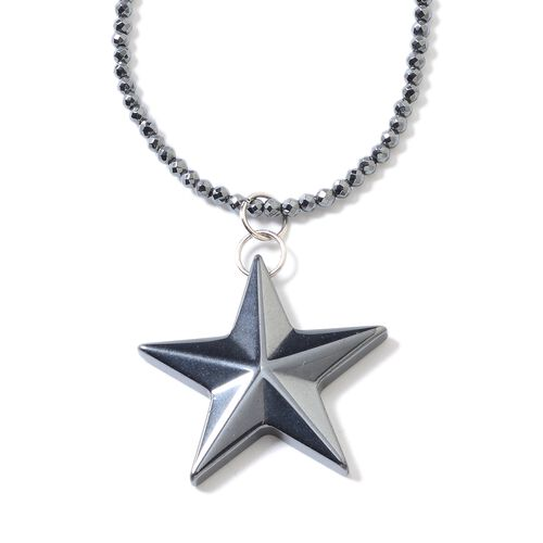 One Time Deal- Set of 2 Hematite Necklace (Size 22) and Star Pendant Set in Stainless Steel With Mag