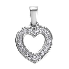 J Francis - Platinum Overlay Sterling Silver (Rnd) Heart Pendant Made with SWAROVSKI ZIRCONIA