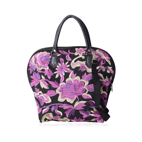 Shanghai Collection Black Colour with Purple Floral Embroidery Tote Bag with Adjustable Shoulder Str