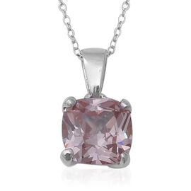 ELANZA Swiss Star Colour Change Light Green and Morganite Cubic Zirconia (Cush) Pendant With Chain (