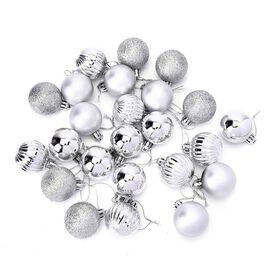 Christmas Tree Decoration Ball Set (24 Pcs) - Silver