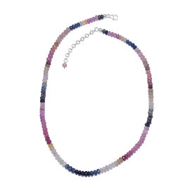 Multi Sapphire (Rnd) Beads Necklace (Size 18 with 2 inch Extender) in Platinum Overlay Sterling Silver 125.100 Ct.