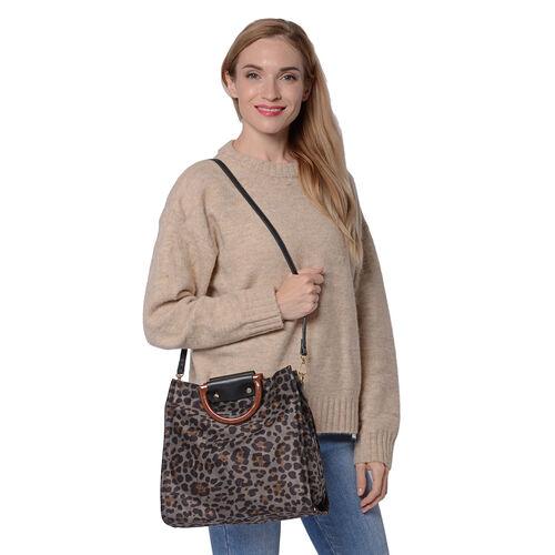 Stylish Leopard Pattern Velvet Middle Size Tote Bag with Detachable and Adjustable Shoulder Strap (Size 30x11x28cm) - Grey