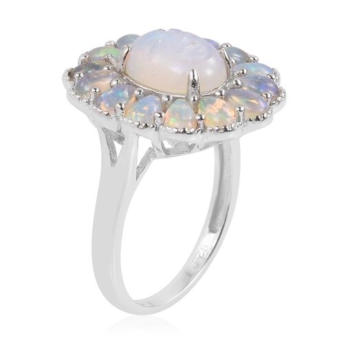 Smiling Face Carved Ethiopian Welo Opal (Ovl 1.50 Ct) Ring in Rhodium Plated Sterling Silver 3.400 Ct.