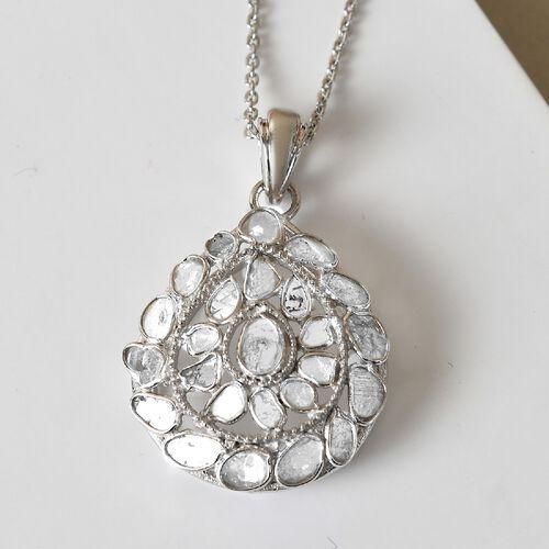 Artisan Crafted Polki Diamond Pendant With Chain (Size 18) 1.70 Ct.