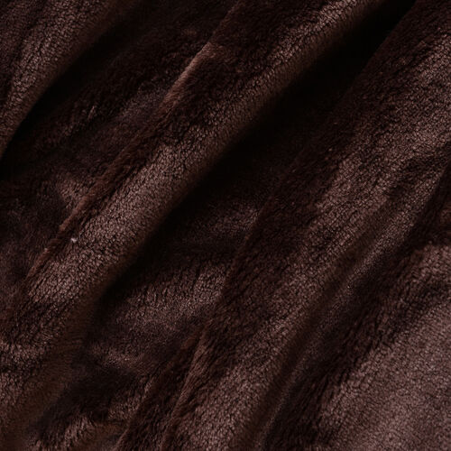 100% Microfiber Flannel Blanket with Self-Fabric Border (Size 200x150 Cm) - Brown