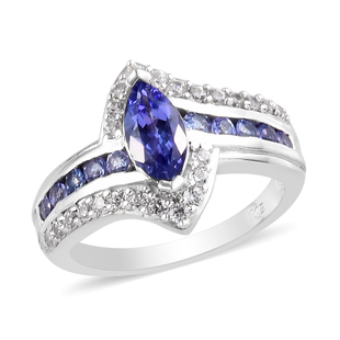 Premium Tanzanite and Natural Cambodian Zircon Ring in Platinum Overlay Sterling Silver 1.75 Ct.