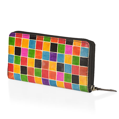 100% Genuine Leather Multi Colour RFID Blocker Mosaic Pattern Ladies Wallet (Size 12x11.5x2 Cm)