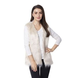Beige Colour Faux Fur Gilet  (One Size Fits all)