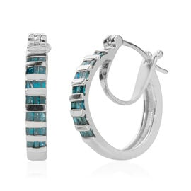 Green Diamond (Tapered Baguette) Hoop Earrings (with Clasp Lock) in Platinum Overlay Sterling Silver 0.500 Ct