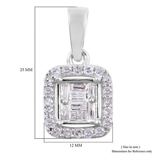 9K White Gold SGL Certified Diamond (I3/G-H) Halo Pendant 0.25 Ct.