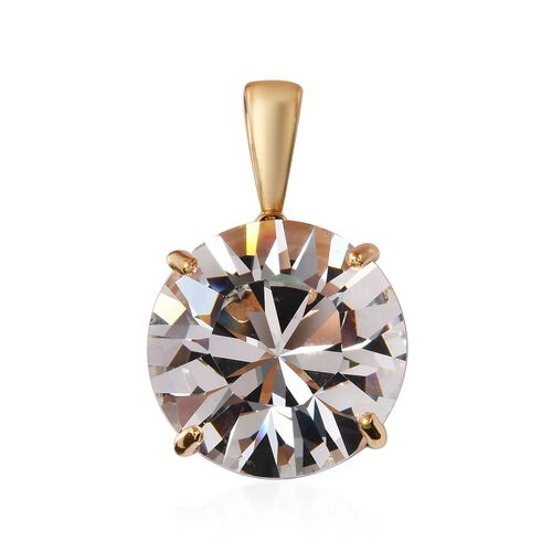 J Francis White Crystal from Swarovski Solitaire Pendant in Gold Plated