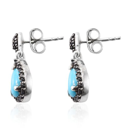 Arizona Sleeping Beauty Turquoise (Pear), Boi Ploi Black Spinel Earrings (with Puch Back) in Platinum Overlay Sterling Silver 1.500 Ct.