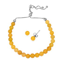 Burmese Yellow Jade (Rnd) Bracelet (Size 6.5 to 10) and Stud Earrings (with Push Back) in Rhodium Ov