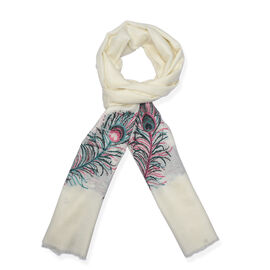 100% Cashmere Wool Jacquard Feather Cream Colour Scarf Size 200x70 Cm