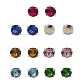 J Francis SET OF 7 Swarovski Multi Colour Crystal Stud Earrings in Sterling Silver