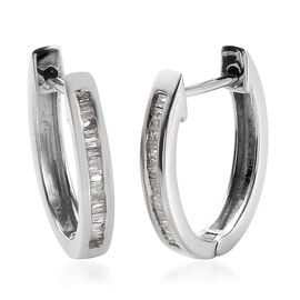 Natural Diamond (Bgt) Hoop Earrings (with Clasp Lock) in Platinum Overlay Sterling Silver