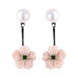 Jardin Collection - Light Pink Mother of Pearl, Freshwater Pearl and Russian Diopside Earrings (with