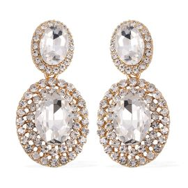 Simulated Diamond (Ovl), White Austrian Crystal Earrings in Gold Tone