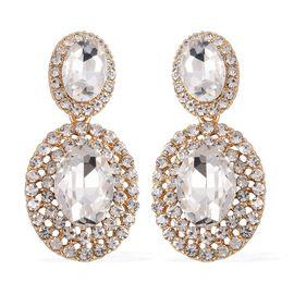 Simulated Diamond (Ovl), White Austrian Crystal Earrings in Gold Tone
