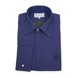 William Hunt Saville Row Forward Point Collar Dark Blue Shirt Size 17.5