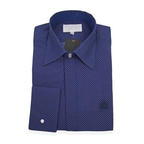 William Hunt Saville Row Forward Point Collar Dark Blue Shirt Size 17.5