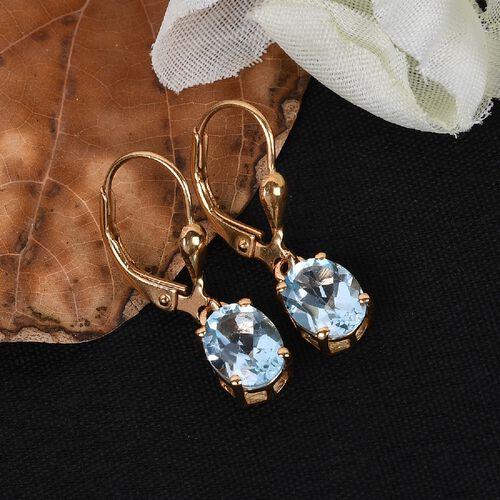 AA Sky Blue Topaz (Ovl) Earrings in 14K Gold Overlay Sterling Silver 3.080 Ct.