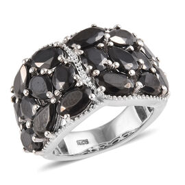 4.65 Ct Elite Shungite Cluster Ring in Platinum Plated Sterling Silver 7 Grams