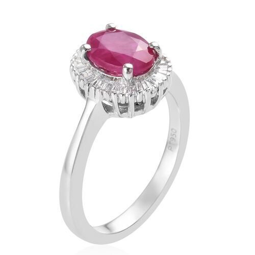 RHAPSODY 950 Platinum AAAA Burmese Ruby and Diamond (VS/E-F) Ring 1.75 Ct.