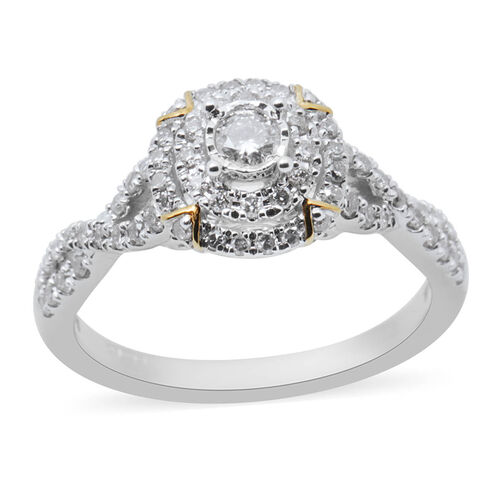 New York Close Out 0.50 Ct Diamond Cluster Ring in 14K White Gold I1 I2 H