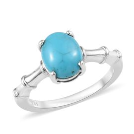 1.50 Ct Arizona Sleeping Beauty Turquoise Solitaire Ring in Platinum Plated Silver