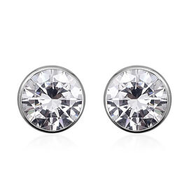ELANZA Simulated Diamond Solitaire Stud Earrings in Rhodium Plated Sterling Silver