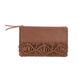 Hand Woven Macrame 100% Genuine Leather Clutch Wallet -  Tan
