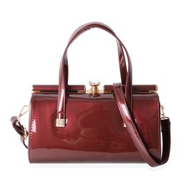 Boutique Collection High Glossed Vintage Style True Red Colour Tote Bag with Removable Shoulder Stra