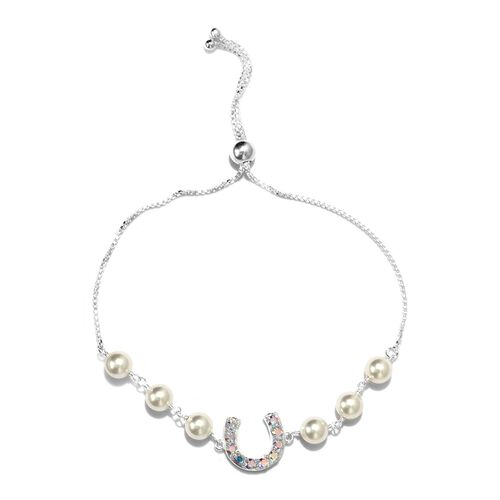 J Francis White Pearl Crystal and AB Crystal from Swarovski Adjustable Bracelet in Silver 9.5 Inch