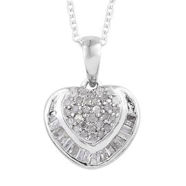 Diamond (Rnd and Bgt) Heart Pendant With Chain (Size 20) in Platinum Overlay Sterling Silver 0.330 C