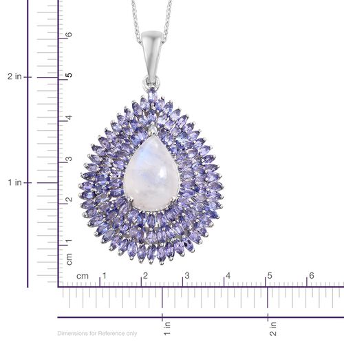Sri Lankan Rainbow Moonstone (Pear 12.50 Ct), Tanzanite Drop Pendant with Chain in Platinum Overlay Sterling Silver 22.500 Ct. Silver wt 12.00 Gms. Number of Gemstone 109