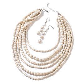 2 Piece Set - White Howlite Multi Row Necklace (Size 18 with 2 inch Extender) and Hook Earrings in S