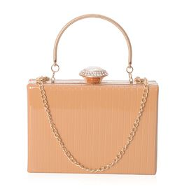 Boutique Collection Vintage Style Nude Clutch with Removable Iron Chain Shoulder Strap (Size 17.5x12