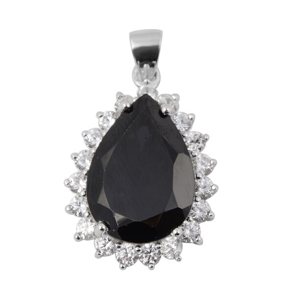 14.66 Ct Boi Ploi Black Spinel and Zircon Halo Pendant in Sterling Silver