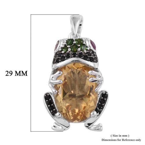 GP Citrine (Ovl 14x10 mm), Multi Gemstone Frog Pendant in Platinum Overlay Sterling Silver 6.00 Ct, Silver wt 6.16 Gms.
