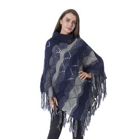 Collar with Two Decorative Button Wave Pattern Poncho with Tassels (Size 85x60 Cm) Colour Navy