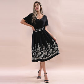 JOVIE Miss Collection 100% Viscose Embroidered Black Skirt