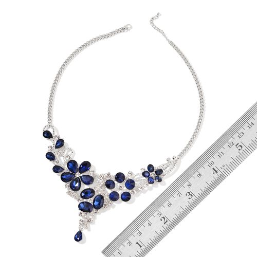 Simulated Blue Sapphire and White Austrian Crystal Flower Necklace (Size 22 with 2 inch Extender) in Silver Tone