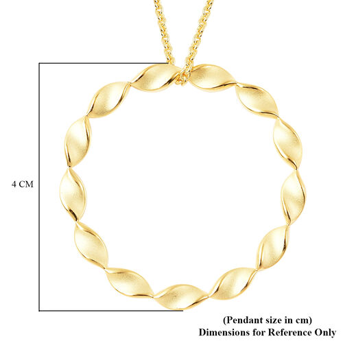 RACHEL GALLEY Yellow Gold Overlay Sterling Silver Sandblast Texture Twist Circle Design Pendant with Chain (Size 30), Silver wt. 14.07 Gms