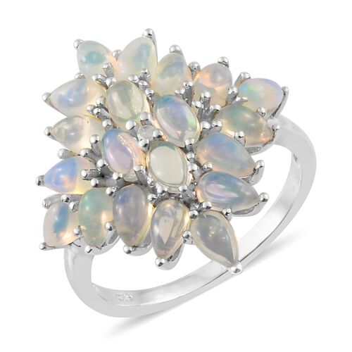 Ethiopian Welo Opal (Pear), Diamond Cluster Ring in Platinum Overlay Sterling Silver 3.000 Ct.