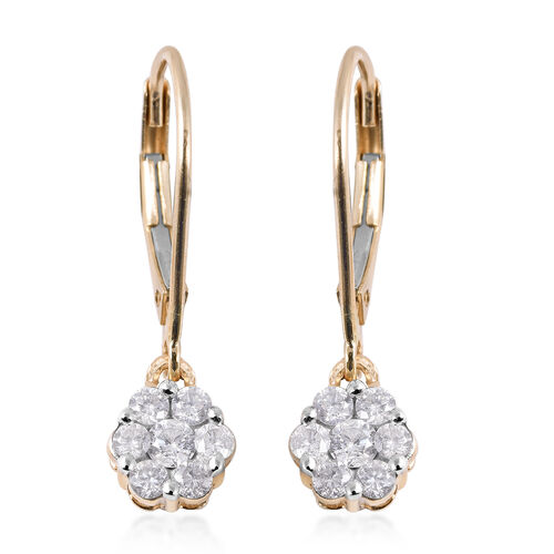 0.50 Carat Diamond Pressure Set Floral Lever Back Earrings in 9K Gold SGL Certified I3 GH
